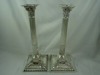 V. LARGE pair VICTORIAN silver CANDLESTICKS, 1884