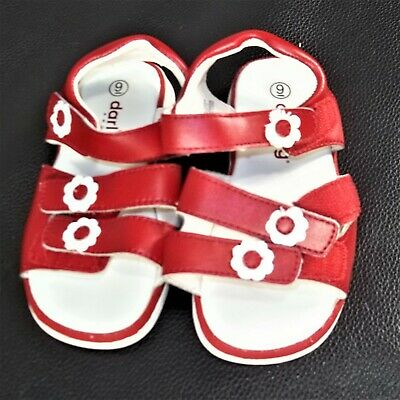 Girls size 9 Darling Shoes red white flower accent velcro leather sandals