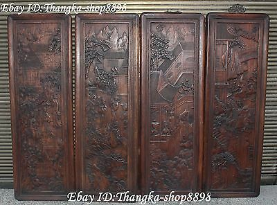 """36"""" Chinese Huanghuali Wood Carving Ancient Man People House Life Wall Hanging"""