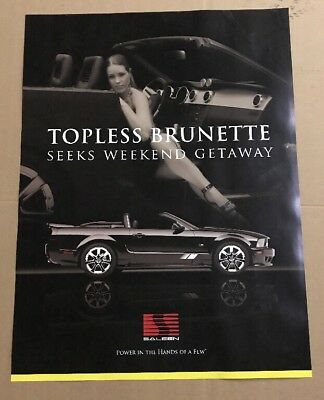 Saleen S281 Poster - Topless Brunette Seeks Weekend Getaway 24x32 - Garage Art