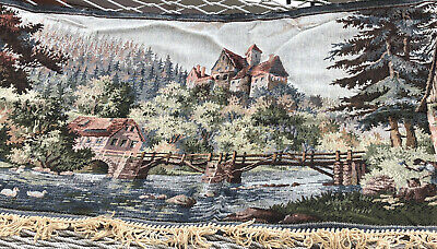 Vintage Woven Tapestry Landscape With Fringe And People In Foreground  EUC (O)