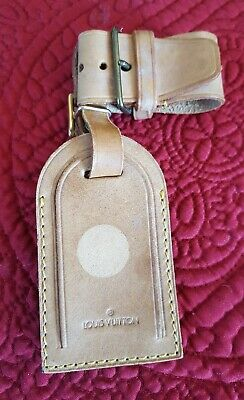 Authentic Louis Vuitton Large Leather Luggage ID Name Tag and Poignet Set - Nice