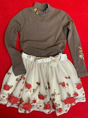 Mayoral Chic Skirt & Chipie brown T Shirt Age 6-7-8 years. Designer lables.