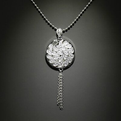 Collect China Old Miao Silver Hand Carve Graceful Peacock Delicate Noble Pendant