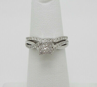 1/2CT Diamond Halo Solitaire Engagement Wedding Ring Bridal Set 14K White Gold