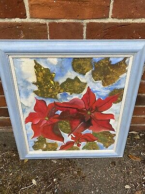 Flower Oil On Canvas Painting Framed Large