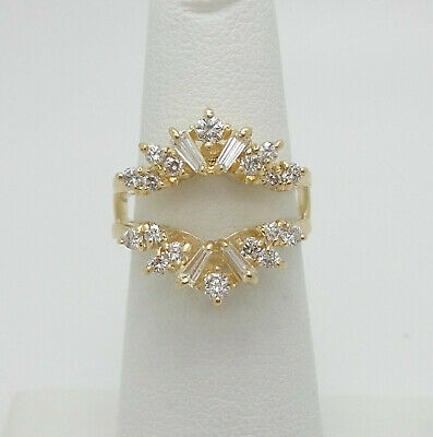 Vintage 3/4CT Diamond Solitaire Enhancer Guard Wrap Insert Ring 14K Yellow Gold