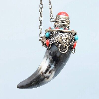 Collect Antique Miao Silver Inlay Turquoise & 0x Horn Carve Noble Snuff Bottle