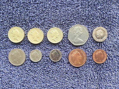 10 British ( UK ) Pound & Pence coins / Dates from 1978 to 1997