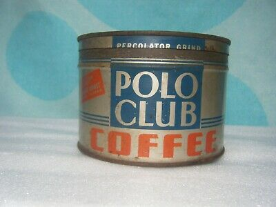 Rare Vintage 1937 Polo Club Coffee Tin 1 Lb Can With Lid Very Rare