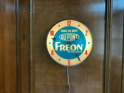 "Vintage ""DuPont Freon Refrigerant"" lighted advertising clock manufactured by Pam"