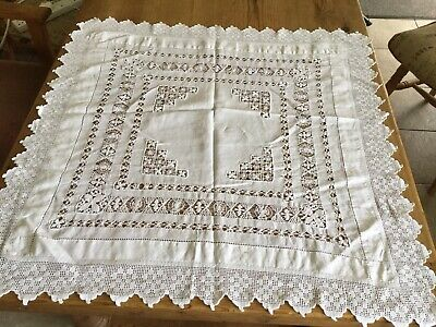 """Antique Embroidered Drawn Thread and Lace Table Cloth 30"""""""