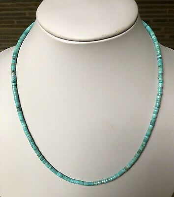 """Santo Domingo Blue Turquoise Heishi Sterling Necklace 19"""" Perfect4Pendant"""
