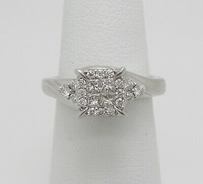 Zales 1/2CT Princess Diamond Halo Engagement Wedding Ring Bridal 10K White Gold