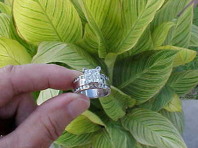 2 1/2 Ct. Princess Cut Diamond Engagement Wedding Ring Band. 14K, 8.8gr, Sz. 7