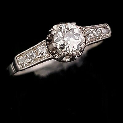 Vintage Old European Cut Diamonds Platinum Ring Engagement Fashion Estate Gift