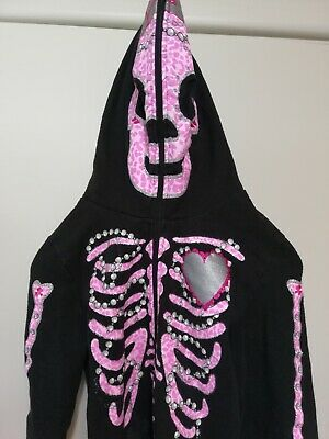 Holiday Editions Girls Hoodie Halloween Skeleton Full Face Pink Black 10/12