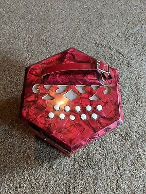 Vintage Antique 20 Key Concertina Red Pearl Made in Italy.