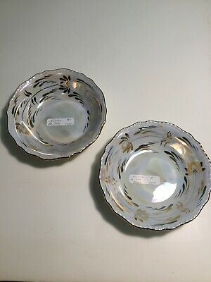 """Cumbow China Two Lustre 6"""" Bowls Pale Blue White, Gold Trim"""