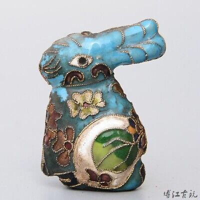 Collectable China Old Cloisonne Hand-Carved Lovely Rabbit Delicate Decor Statue