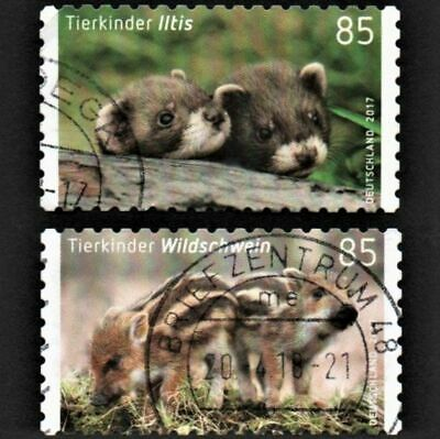 OLD STAMPS GERMANY 2017 cv£10.50 YOUNG ANIMALS FULL 2 STAMP SET USED UNH