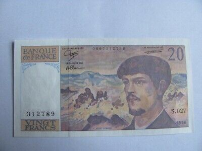 1990 France 20 Francs  Vintage uncirculated Banknote Currency Note Pre Euro UNC
