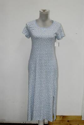 Charter Club Printed Cotton Knit Nightgown Floral Blue Alder XS