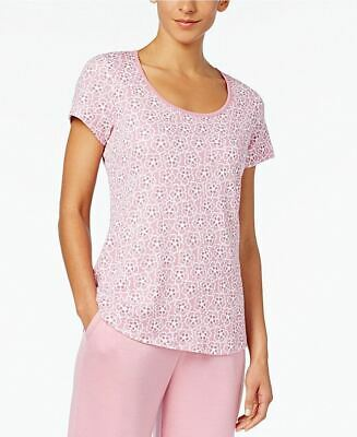 Charter Club Printed Cotton Knit Pajama T-S Floral Orchid Smoke L