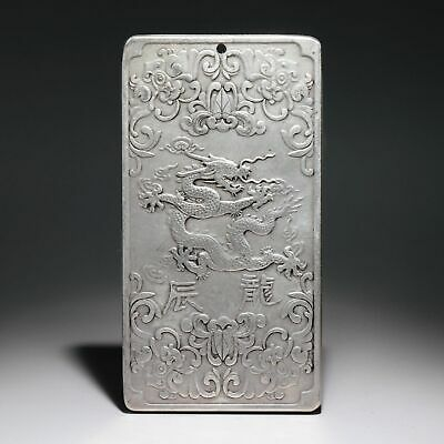 Collectable Old Miao Silver Hand-Carved Myth Dragon & Twelve Zodiac Luck Pendant