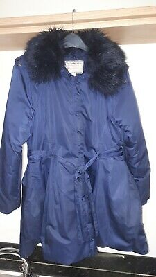 Monsoon Girls puffball padded Navy Coat Excellent Condition Age 12-13