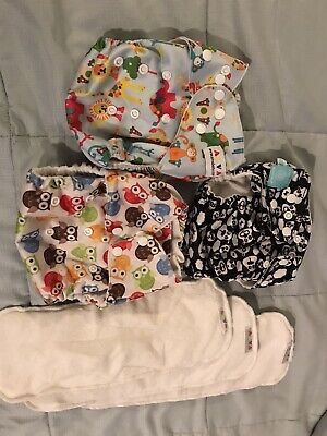 3 Re Usable,Washable, Pocket Diapers, Charlie Banana, Alva Baby, And Blueberry
