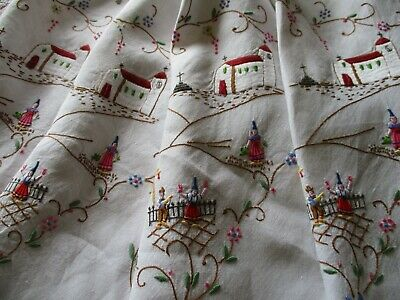 Vintage Hand Embroidered Tablecloth-EXCEPTIONAL NEEDLE WORK THROUGHOUT