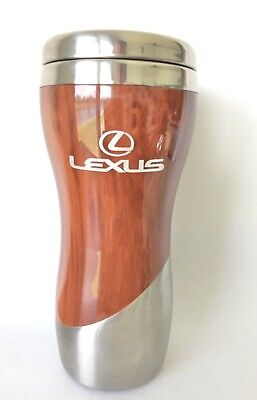 Lexus 14 oz wood grain stainless Car Travel Mug Tumbler Insulated coffee Cup