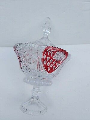Anna Hutte Bleikristall 24%Lead Crystal Ruby Clear Pedestal Goblet Candy & lid