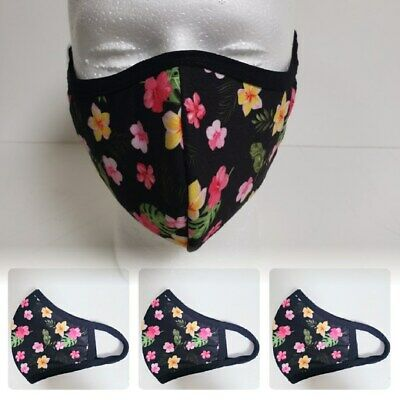 Lot Of 3 Face Mask Washable And Reusable (Flower Pattern) *Made In The Usa* - T1