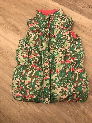 Girls Green Floral Gilet/bodywarmer By Marks & Spencer Age 6-7yr