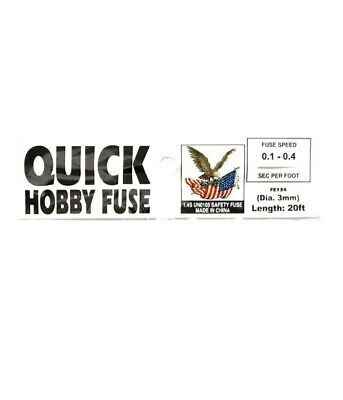 20' Quick HOBBY FUSE LABEL 3 mm White 0.1 seconds