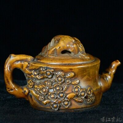 Collectable Old Boxwood Hand-Carved Plum Blossom Delicate Unique Tea Pot Statue