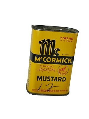 Vintage Mccormicks Mustard Spice Food Tin Retro 1940 Yellow Kitchen Decor
