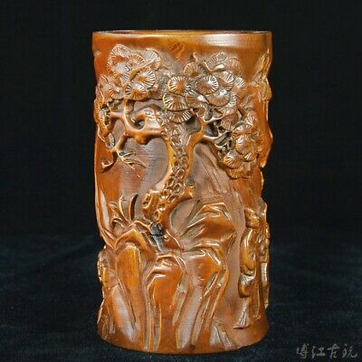 Collectable China Old Boxwood Hand-Carved Figure & Scenery Delicate Brush Pot