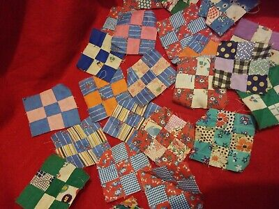 blocks patchwork quilt 9 patch postage stamp size cotton feed sacks antique