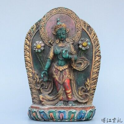 Collectable China Old Turquoise Hand-Carved Happy Buddha Moral Exorcism Statue
