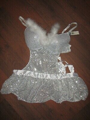 Passion Forever White Silver Sequin and Fur Apron Sexy Nightie Babydoll 2X NWT