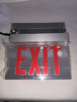 NEW Lithonia Edge Lit LED Emergency Exit Double Face Mirrored Red 283777