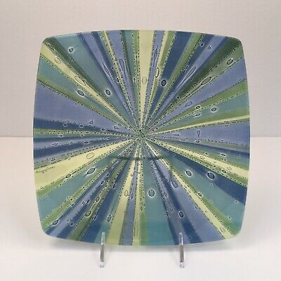 "Higgins Fused Art Glass RIVIERA  10 3/8"" Square Plate"