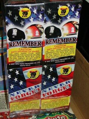 BLACK CAT 911 REMEMBER NEVER FORGET TWIN TOWERS FIREWORKS PACKAGE BOX LABEL 4x