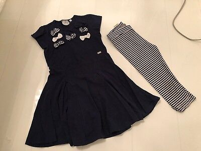 A'dee Ariana Dee Navy Blue Bow Trim Swing Dress & Leggings Set- 5 Yrs 110 Cm
