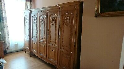 Louis XV Style French Vintage Antique Solid Oak Carved 5 Door Armoire Wardrobe