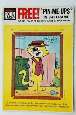"Vintage Kellogg'S Corn Flakes Top Cat ""Pin-Me-Ups"" Cereal Box Back Hanna Barbera"