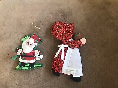 2 Vintage Fabric Christmas Ornaments -Santa (Kurt Adler) & A Calico Dressed Girl